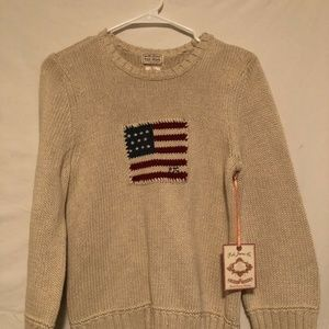 POLO Ralph Lauren Brown American Flag Sweater Yout